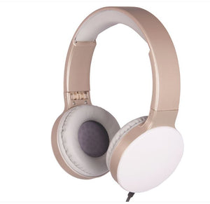 FOLDABLE HEADPHONES WITH 3.5MM CABLE ON-EAR PADDED DESIGN GOLD WHITE / BLACK