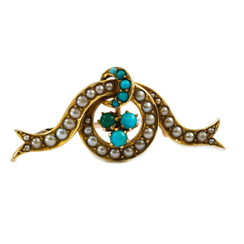 Victorian Turquoise and Pearl Brooch
