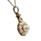 Antique Daisy Cluster Pearl and Diamond Pendant