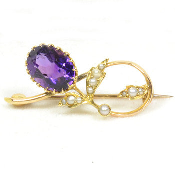 Antique Amethyst and Pearl Brooch