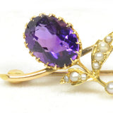 Absolutely Adorable Antique Amethyst and Pearl Brooch