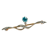 Blue Zircon and Diamond Brooch