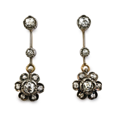 Antique Victorian Diamond Flower Drop Earrings