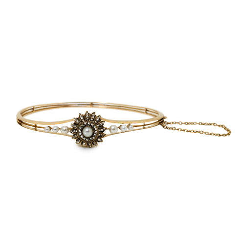 Vivacious Victorian Diamond and Pearl Bangle