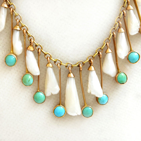 Antique Turquoise and Natural Wing Pearl Necklace