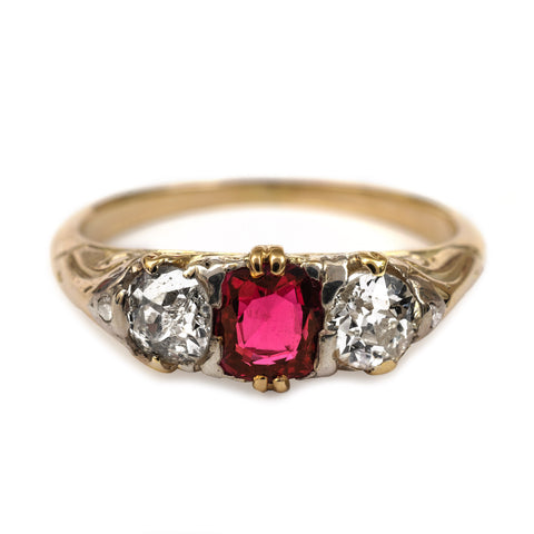 Antique Ruby Diamond Victorian Ring