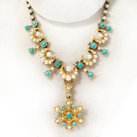 Victorian seed pearl turquoise necklace