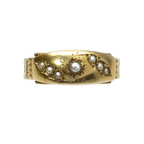 Antique Sentimental 15ct Gold, Hair and Pearl Ring