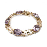 Gold and Amethyst Filigree Bracelet