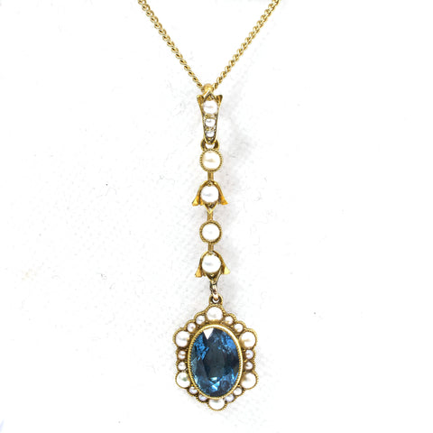 Edwardian Topaz and Natural Pearl Pendant