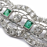 Dramatic Art Deco Emerald and Diamond Brooch