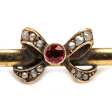 Antique Victorian Ruby Pearl Bow Brooch