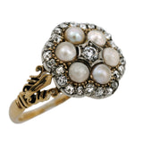 Edwardian Pearl Diamond Cluster Ring