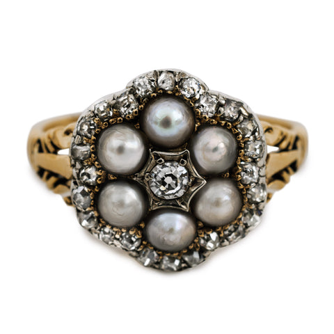 Vintage Pearl Diamond Cluster Ring