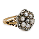 Antique Pearl Diamond Cluster Ring