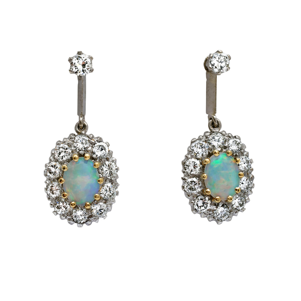 Glamorous Vintage Opal And Diamond Earrings Fidra Jewellers
