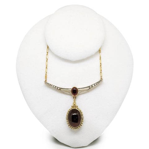 Antique Garnet Cabochon Necklace