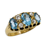 Antique 3 Stone Aquamarine & Diamond Ring