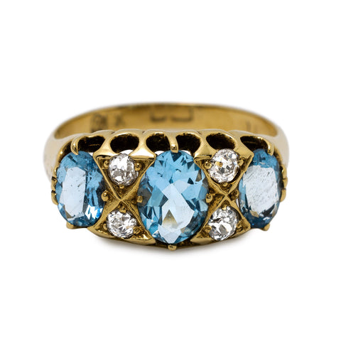 Edwardian Aquamarine & Diamond Ring