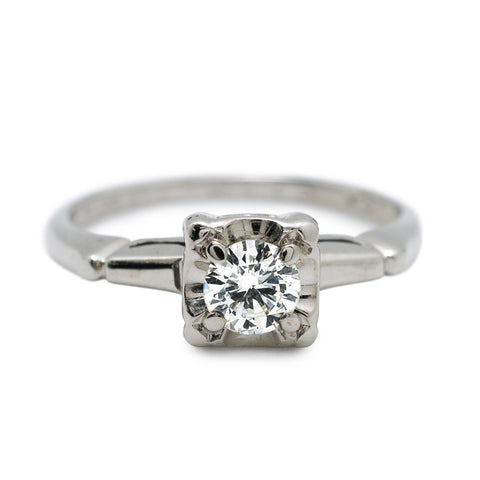 diamond art deco white gold brilliant cut engagement ring vintage solitaire
