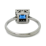 sapphire diamond platinum square cut brilliant cut deco style engagement ring dress ring velvet blue