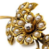 Exquisite Victorian Seed Pearl and Diamond Brooch