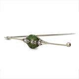 Vintage Art Deco Jade Diamond Bar Brooch