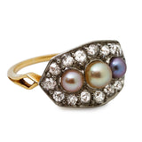 Antique Natural Pearl and Diamond Panel Ring
