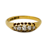Victorian antique five stone diamond ring