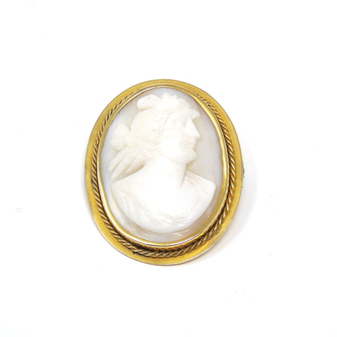 antique victorian cameo shell gold brooch