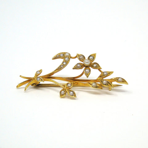 Antique Victorian 15ct Gold floral leaf Pearl Brooch