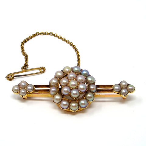 Antique 15ct gold pearl brooch