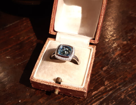Contemporary Blue Topaz & Diamond Ring