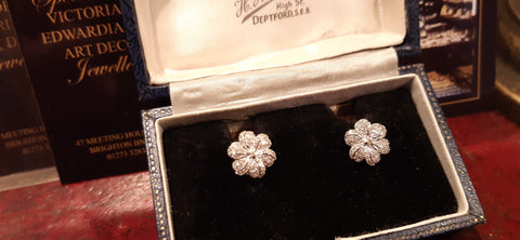 Dazzling Diamond Flower Earrings