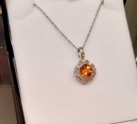 Pretty Citrine & Diamond Pendant