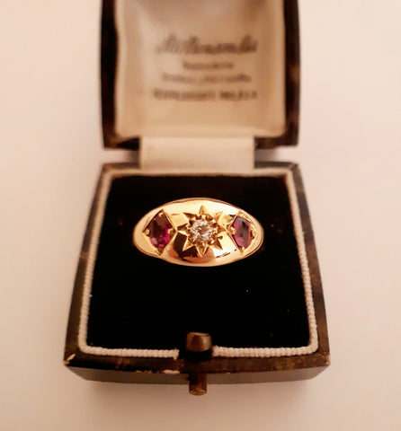 Bold Edwardian Ruby & Diamond Ring