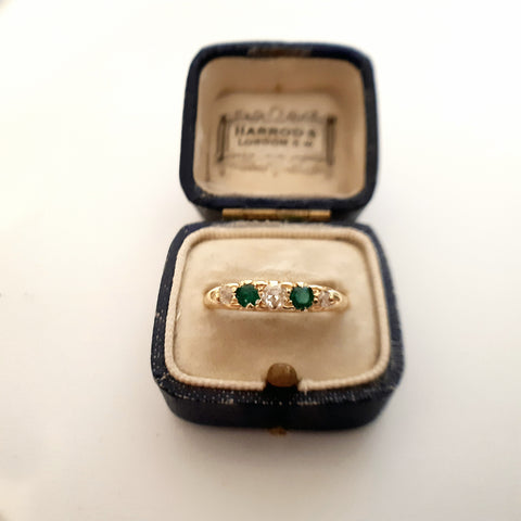 Fancy Victorian Emerald & Diamond Ring