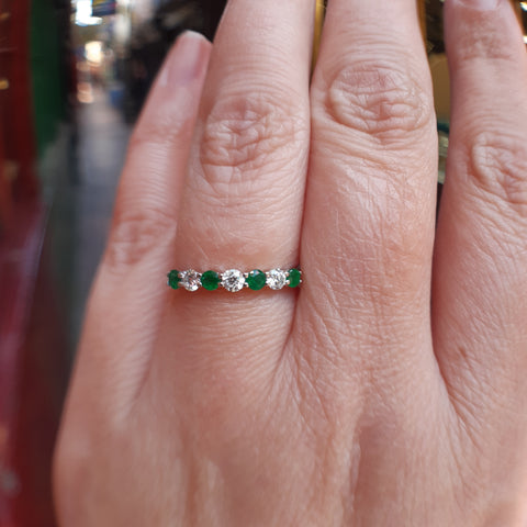 Vibrant Emerald &Diamond Half Eternity Ring