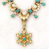Romantic Victorian 15ct Gold Pearl and Turquoise Necklace