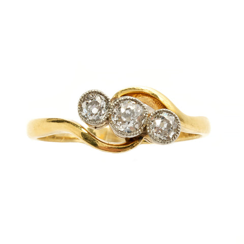 Vintage 1930's Diamond Crossover Ring