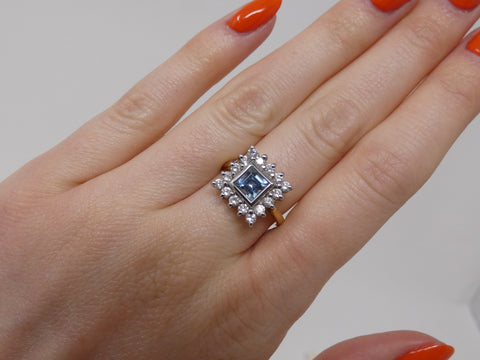 Timeless Aquamarine and Diamond Square Ring