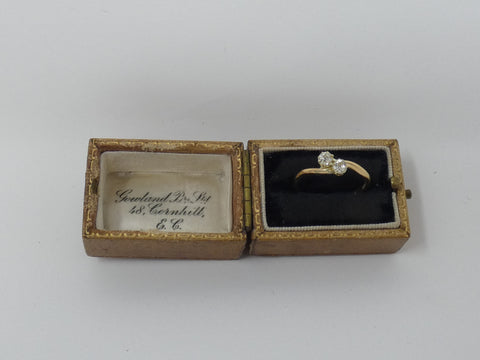 Adorable Old Cut Diamond Cross Over Two Stone Ring