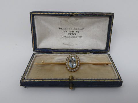 Amazing Edwardian Aquamarine & Seed Pearl Bar Brooch