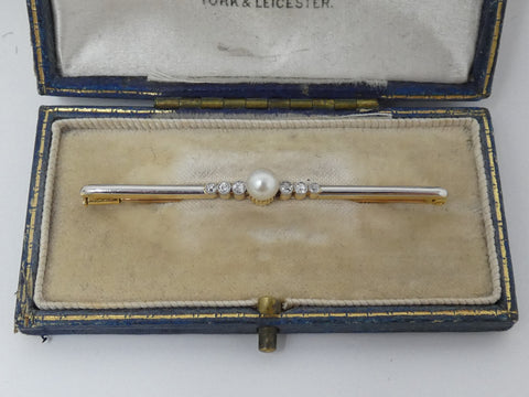 Fancy Art Deco Cultured Pearl & Diamond Bar Brooch