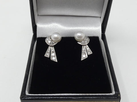 Exquisite 18ct white gold diamond, pearl stud earrings