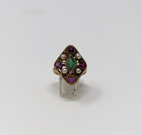 Eye Catching Vintage Pearl, Emerald and Ruby Ring