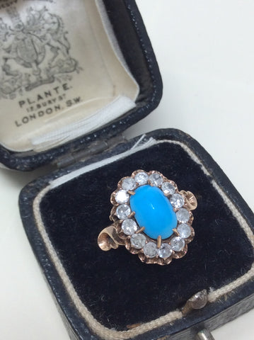 Striking Antique Turquoise and Diamond Ring