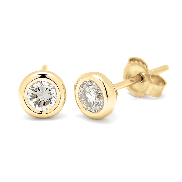 18ct Yellow Gold 0.05ct TDW Diamond Earrings