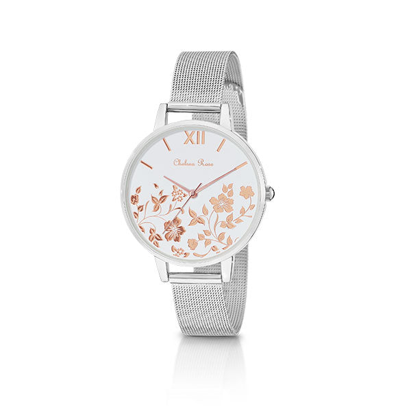 Chelsea Rose Silver Foil Poppy Watch