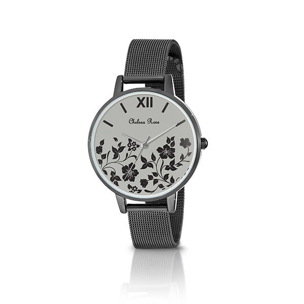Chelsea Rose Black Foil Poppy Watch